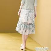 時尚洋氣荷葉邊雪紡裙子女夏季2020年新款高腰顯瘦半身裙 中秋節全館免運