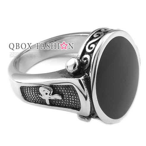 《 QBOX 》FASHION 飾品【R10025232】精緻個性橢圓形古典圖紋邊鑄造鈦鋼戒指/戒環