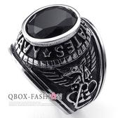 《 QBOX 》FASHION 飾品【R10024225】精緻個性美式老鷹黑鋯石鑄造鈦鋼戒指/戒環