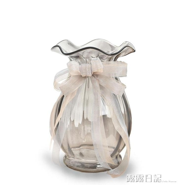 歐式波浪口創意玻璃花瓶透明彩色 客廳百合插花瓶裝飾工藝品擺件 露露日記