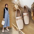 大尺碼女鞋34~43 2020新款英倫風百搭優雅方頭馬銜扣紳士鞋~2色