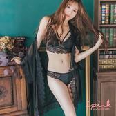 i PINK 輕戀漫舞 睫毛蕾絲網紗綁帶罩衫(黑)