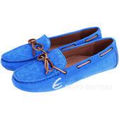 BOTTEGA VENETA  配色綁帶麂皮平底便鞋(藍色) 1510380-23