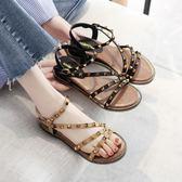涼鞋夏季鉚釘露趾平底羅馬鞋平跟坡跟百搭