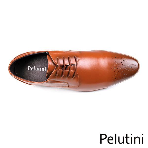 【Pelutini】時尚尖頭牛皮德比紳士鞋  咖啡(8355-BR)