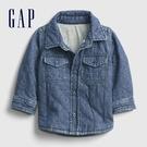 Gap嬰兒 做舊水洗口袋絎縫牛仔外套 595622-水洗藍