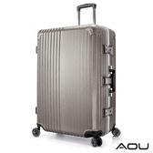 AOU 絕美時尚升級版 20吋PC防刮亮面飛機輪鋁框旅行箱(香檳金)90-021C