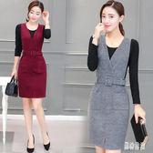 中大尺碼兩件式洋裝 冬季毛呢洋裝時尚秋冬裝新款韓版修身中長款時髦 AW7890『男神港灣』
