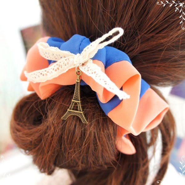 ☆棒棒糖童裝☆巴黎鐵塔蕾絲拼色髮圈 大腸髮束