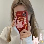 iphone手機殼紅色立體蝴蝶結線條牛蘋果手機殼硅膠防摔軟殼【萌萌噠】