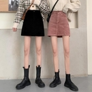 短裙 燈芯絨半身裙女春裝2021新款時尚小個子包臀裙子高腰顯瘦a字短裙