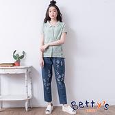 betty's貝蒂思 經典微刷破花朵刺繡牛仔褲(深藍)