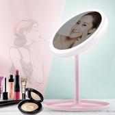 led化妝鏡帶燈補光宿舍桌面台式梳妝鏡女摺疊隨身便攜小鏡子    蘑菇街小屋