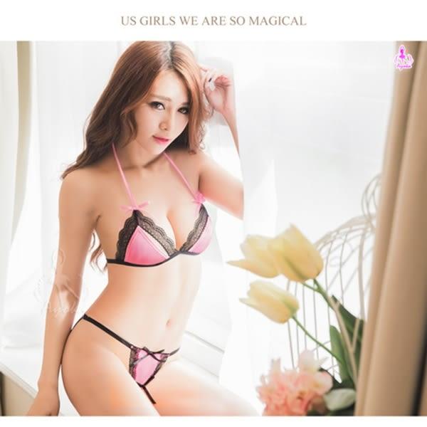 情趣用品 女性商品 蕾絲性感綁脖繞頸比基尼內衣二件組-粉紅色 情趣內衣