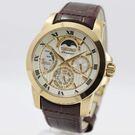 【萬年鐘錶】SEIKO Premier Kinetic互動式人動電能 月相 皮革錶 金x咖啡  5D88-0AG0K (SRX014J1)