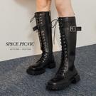 靴子 Space Picnic|素面綁帶厚底長靴(預購)【C20092014】