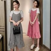 漂亮小媽咪 韓系荷葉洋裝 假二件 【D2139】 格紋 假兩件 拼接 背心裙 孕婦洋裝 孕婦裝 吊帶裙