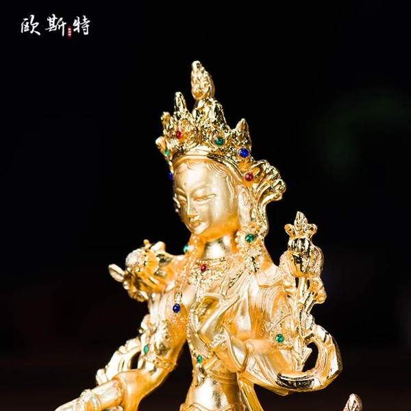 藏傳佛教密宗供佛國產鍍金鑲嵌寶石13.5cm佛像