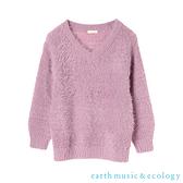 「Hot item」素面毛絨V領針織上衣 - earth music&ecology
