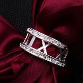 925純銀戒指鑲鑽-字母造型生日情人節禮物女配件73at10【巴黎精品】
