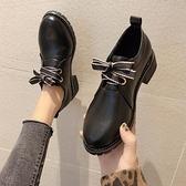 黑色小皮鞋女英倫風2020秋冬新款百搭中跟粗跟工作單鞋加絨休閒鞋 「雙10特惠」