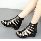 夏季真皮涼鞋 羅馬魚口鞋鏤空坡跟鞋《小師妹》sm496