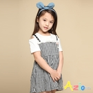 Azio 女童 洋裝 假兩件露肩造型吊帶細格短袖洋裝(白) Azio Kids 美國派 童裝