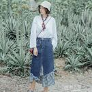 韓版中長款牛仔半身裙 不規則裙子格子a字長裙女高腰
