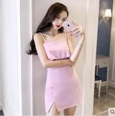 M- 夜場女裝2018春夏新款氣質名媛性感一字肩吊帶修身顯瘦包臀連衣裙