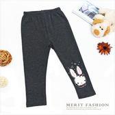 毛線兔子貼鑽內搭褲 (深灰) 可愛 韓版 刷毛 保暖 長褲 不倒絨 女童 哎北比童裝