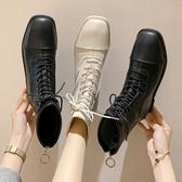 英倫風短靴女歐洲站超火系帶平底馬丁靴網紅中筒機車靴單靴潮 瑪麗蘇