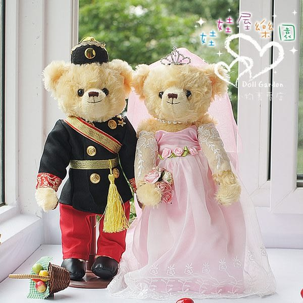 娃娃屋樂園~黑軍裝.禮服款-歐風婚紗對熊 每對1580元/婚禮小物/熊熊玩偶/可站立有支架/會場佈置