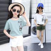 女童體桖衫短袖丅2018新款夏裝5-9-11歲7小女孩純棉上衣兒童白t恤   初見居家