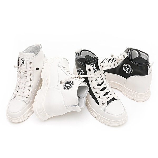 PLAYBOY 內增高真皮短靴-白(Y6803)