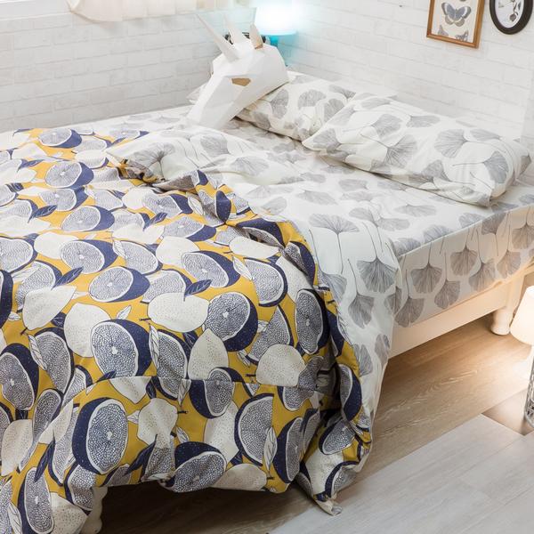 藍色檸檬與落葉 K2 kingsize床包薄被套4件組 四季磨毛布 北歐風 台灣製造 棉床本舖