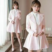 風衣秋裝新款女大衣甜美淑女可愛修身小個子中長款風衣外套 生活優品
