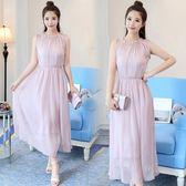 無袖雪紡洋裝 連身裙粉色中長版女裝正韓修身裙子長裙-小精靈