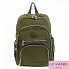 【i Brand】繽紛樂園尼龍多口袋後背包-軍綠色 TGT-1368-軍綠