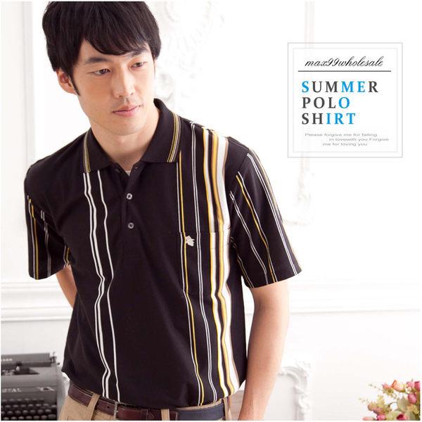 【大盤大】(P12671) 男 夏 短袖 黑色POLO衫 直條紋上衣 休閒棉衫 口袋 爸爸 生日【2XL號斷貨】