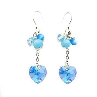 Swaroski 藍水晶心與藍貓眼珠耳環