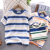 男童T恤 男童純棉短袖T恤2021夏季兒童海軍風圓領條紋體恤中大童半袖t上衣【快速出貨】
