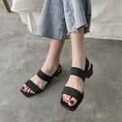 韓版2020夏季新款網紅百搭方頭粗跟涼鞋鬆緊帶仙女風中跟女鞋春潮 魔法鞋櫃