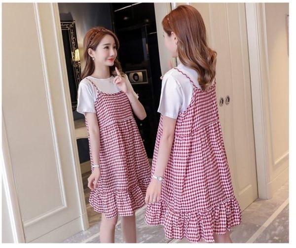 漂亮小媽咪 兩件式 洋裝 【D2186】 背心裙 二件式 棉T 十 吊帶裙 套裝 孕婦裝 魚尾洋裝