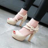 37碼/杏色 涼鞋粗跟高跟甜美蝴蝶結魚嘴鞋 大碼鞋子