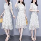 洋裝 雪紡連身裙9417雪紡亮絲印花花邊...
