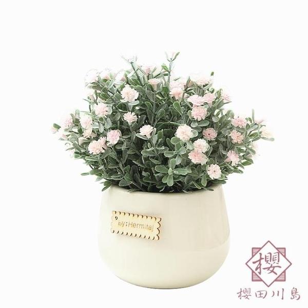 仿真綠植小盆栽擺件迷你裝飾假花滿天星盆栽【櫻田川島】