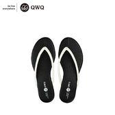 QWQ創意鞋-爵士黑 皮感編織人字拖鞋-(PU系列 )