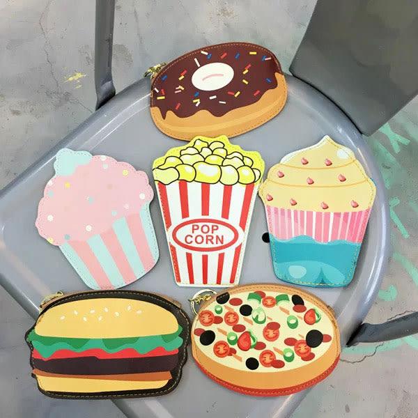 零錢包 小包 鑰匙包 甜甜圈 爆米花 漢堡 蛋糕 冰淇淋 比薩 可愛 NXS