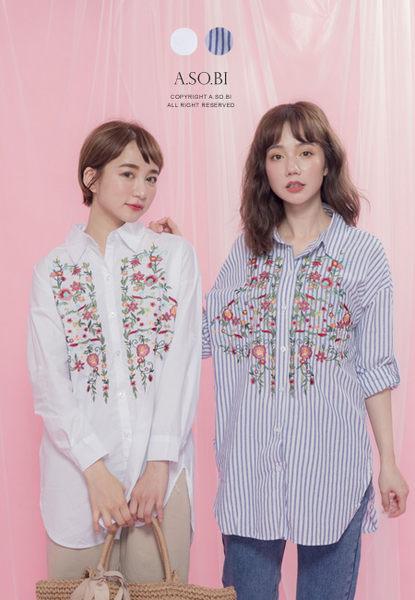 A-SO-BI韓系-古著刺繡對稱花朵素面/直條長版襯衫【R90315-13】