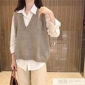網紅坎肩針織毛衣馬甲背心女秋冬季韓版百搭外穿口袋馬夾外套上衣 雙12購物節